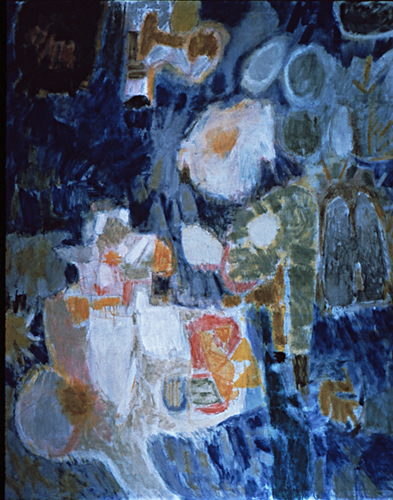Legend: Abstract Painting by Ethel Fisher, 1959, oil on canvas, 640 x 48 inches, mid-twentieth century abstract painting, widely exhibited in Havana, Cuba.