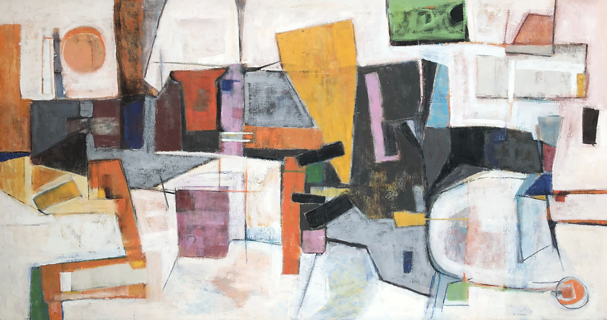 The City: Abstract Painting by Ethel Fisher, 1957, oil on canvas, 30 x 68 inches, mid-twentieth century abstract painting, widely exhibited in Havana, Cuba.