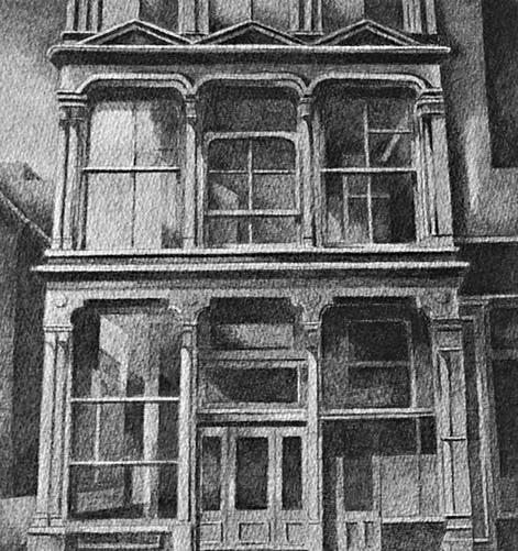 101 Spring Street, New York: Drawing by Ethel Fisher, 1976, of the exterior of Donald Judd's studio, now the Judd Foundation, a five-story cast-iron building designed by Nicholas Whyte, graphite on Arches paper, 20 x 14 inches, twentieth-century drawing of a New York building facade.