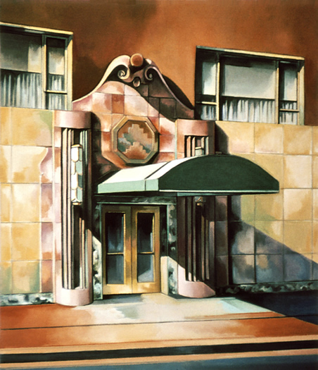 The Lowell, New York (28 63rd St.): Painting of The Lowell Hotel in Manhattan as it used to look, by Ethel Fisher, 1976, oil on canvas, 30 x 26 inches, twentieth century painting of a New York landmark, The Lowell Hotel, a 74-room luxury hotel in the heart of New York's most exclusive and fashionable Upper East Side.