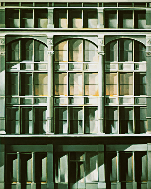 Roosevelt Building: Painting by Ethel Fisher, 1974, oil on canvas, 68 x 54 inches, twentieth century painting of a New York building façade of the Roosevelt Building also known as the Roosevelt Hotel at Madison Avenue and 45th Street in midtown Manhattan, named in honor of President Theodore Roosevelt.