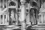 Thumbnail of Sacred Heart Church: Drawing by Ethel Fisher, 1976, graphite on Arches paper, 14 x 20 inches, twentieth-century drawing of a New York church façade.