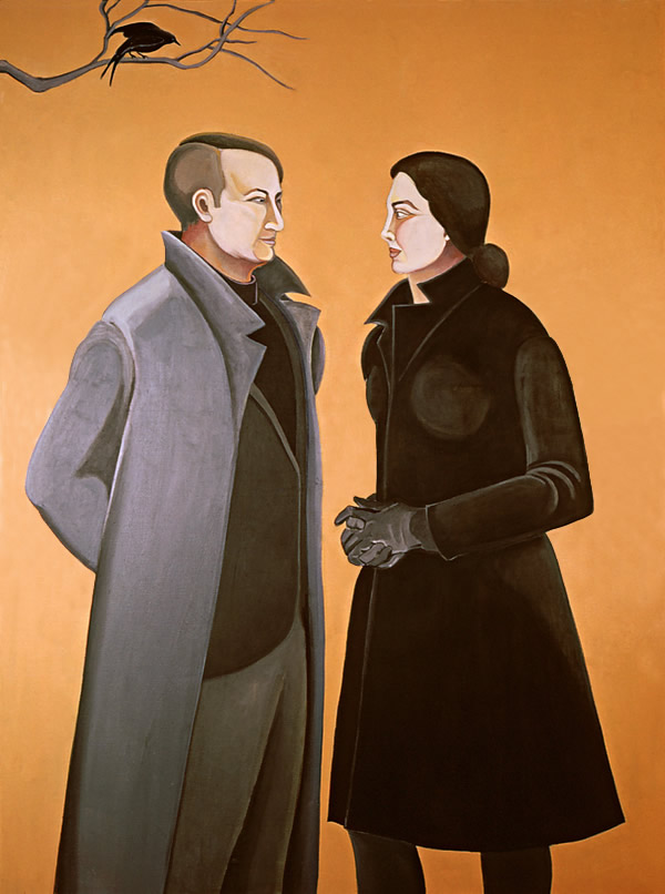 Two Figures (Profile)/Orange Space: Large figure painting of Ethel Fisher and her husband by Ethel Fisher, 1968, oil on canvas, 60 x 40 inches, mid-twentieth century painting.
