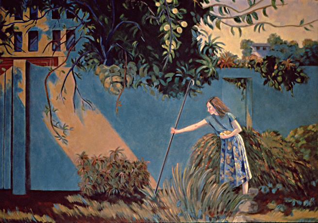 Under the Lemon Tree: Figure Painting by Ethel Fisher, 1991, of Sandra Fisher Kitaj, the artist's daughter, in a Los Angeles landscape, oil on canvas, 48 x 54 inches, twentieth century figure painting.