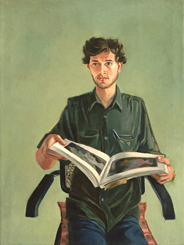 Lem Holding Book: Painting of Lem Kitaj (Lem Dobbs) in Los Angeles by Ethel Fisher, 1985, oil on canvas, 24 x 18 inches, twentieth century portrait painting.