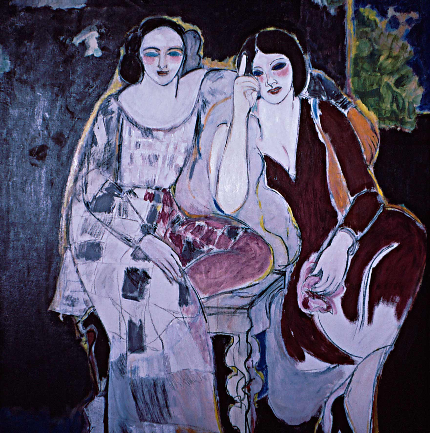 Two Sisters by Ethel Fisher, 1964, oil on linen, 44 x 42 inches, twentieth century figure painting.