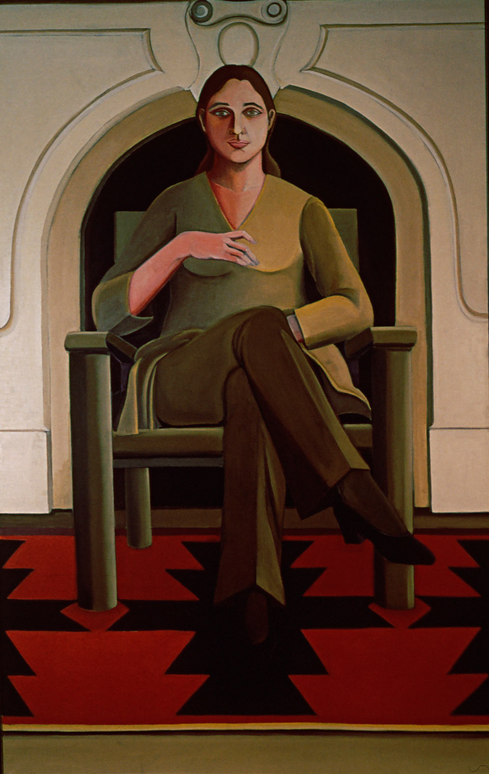 Self Portrait New York Fireplace by Ethel Fisher, 1969, oil on linen, 68 x 41 inches, twentieth century figure painting.