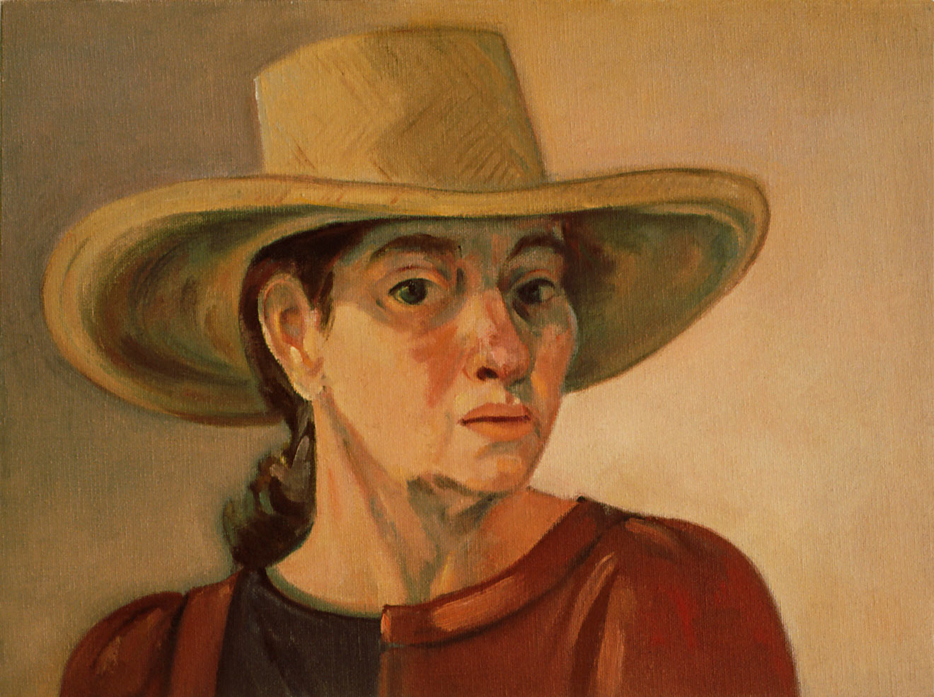 Self Portrait in Straw Hat by Ethel Fisher, 1988, oil on canvas, 12 x 16 inches, twentieth century figure painting.