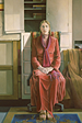 Thumbnail of Red Robe: Large Figure Painting of artist Janice Gabriel in Los Angeles by Ethel Fisher, 1979, oil on canvas, 68 x 53 inches, twentieth century figure painting.