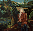 Thumbnail of Model (Janice) in Landscape: Large Figure Painting of Janice Gabriel in landscape by Ethel Fisher, 1988–89, oil on canvas, 57 x 63 inches, twentieth century figure painting.