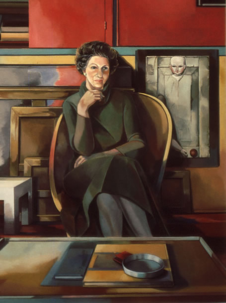 Thumbnail of Portrait of Ilse Getz: Large Figure Painting of New York artist Ilse Getz (1917–1992) by Ethel Fisher, 1977, oil on canvas, 70 x 42 inches, twentieth century figure painting.
