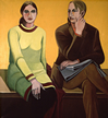 Thumbnail of Double Portrait / Yellow Space (New York): Painting of Ethel Fisher and her husband, by Ethel Fisher, 1969, oil on canvas, 50 x 45 inches, mid-twentieth century figure painting.