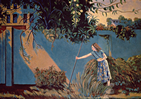 Thumbnail of Under the Lemon Tree: Figure Painting by Ethel Fisher, 1991, of Sandra Fisher Kitaj, the artist's daughter, in a Los Angeles landscape, oil on canvas, 480 x 54 inches, twentieth century figure painting.