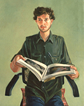 Thumbnail of Lem Holding Book: Painting of Lem Kitaj (Lem Dobbs) in Los Angeles by Ethel Fisher, 1985, oil on canvas, 24 x 18 inches, twentieth century portrait painting.