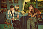 Thumbnail of Betsy and Mark: Figure Painting of Betsy and Mark Blankfield in a Los Angeles interior, by Ethel Fisher, 1988, oil on canvas, 45 x 66 inches, twentieth century figure painting.