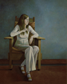 Thumbnail of Martha in Morris Chair: Large Figure Painting of artist Martha Alf in Los Angeles by Ethel Fisher, 1980, oil on canvas, 60 x 48 inches, twentieth century figure painting.
