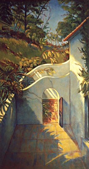 Garden Walls/Los Angeles: California Landscape Painting with Spanish style patio wall by Ethel Fisher, 1994, oil on canvas, 60 x 32 inches, late twentieth-century landscape painting.