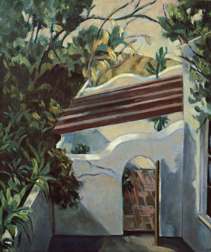 The Patio: California Landscape Painting with Spanish style patio wall by Ethel Fisher, 1988, oil on canvas, 23 x 19 inches, late twentieth-century landscape painting.