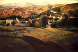 Thumbnail o California Landscape II/with fire in distance: California Landscape Painting by Ethel Fisher, 1985, oil on canvas, 48 x 72 inches, twentieth-century landscape painting with a California wildfire.