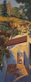 Thumbnail of Hill Above Patio #3: California Landscape Painting with Spanish style patio wall by Ethel Fisher, 1997–98, oil on canvas, 42 x 16 inches, late twentieth-century landscape painting.