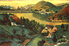 Thumbnail of Lake Hollywood: California Landscape Painting by Ethel Fisher, 1992, oil on canvas, 28 x 42 inches, late twentieth-century landscape painting of Lake Hollywood in California.