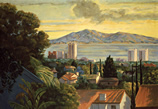 Thumbnail of View of Santa Monica Bay #1: California Landscape Painting with a view over rooftops looking west to Santa Monica Bay, by Ethel Fisher, 1996, oil on canvas, 48 x 60 inches, late twentieth-century landscape painting.