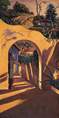 Thumbnail of The Arch #2: California Landscape Painting with Spanish style patio wall by Ethel Fisher, 1998, oil on canvas, 44 x 22 inches, late twentieth-century landscape painting.