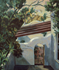 Thumbnail of The Patio: California Landscape Painting with Spanish style patio wall by Ethel Fisher, 1988, oil on canvas, 23 x 19 inches, late twentieth-century landscape painting.