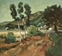 View of Montecito: Landscape Painting by Ethel Fisher, 1988, oil on canvas, 18 x 18 inches, late twentieth-century landscape painting.