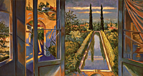 Reflections Blue Studio: Painting by Ethel Fisher, 1998, oil on canvas, 32 x 60 inches, late twentieth-century painting of a studio interior with open window and landscape.