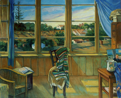 Studio Interior/October: Painting of artist's studio with window and exterior landscape, by Ethel Fisher, 2000, oil on canvas, 36 x 44 inches, twenty-first century painting.
