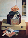 Still Life #3 with Shell on Top: Still Life Painting with hat box, gelatin mold, conch shell, paintbrush and postcards of the catacombs by Ethel Fisher, 1983, oil on canvas, 24 x 18 inches, late twentieth century still life painting