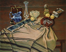 Still Life with Blue Pitcher and Tallis: Still Life Painting with tallis or tallit, the Jewish prayer shawl, by Ethel Fisher, 1990, oil on canvas, 31 x 39 inches, late twentieth century still life painting.