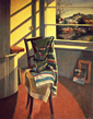 Thumbnail of Corner of Studio #2: Painting of artist's studio with chair, rug, window and exterior landscape, by Ethel Fisher, 1993, oil on canvas, 41 x 32 inches, late twentieth-century still life painting