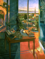 Thumbnail of The Peacock Fan: Painting of studio interior, window and exterior landscape looking west to Santa Monica and the Pacific Ocean, by Ethel Fisher, 1998, oil on canvas, 68 x 51 inches, late twentieth-century painting