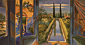 Thumbnail of Reflections Blue Studio: Painting by Ethel Fisher, 1998, oil on canvas, 32 x 60 inches.