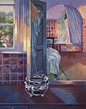 Thumbnail of Reflection in Bathroom Mirror: Painting of interior, window and exterior landscape, by Ethel Fisher, 1999, oil on canvas, 40 x 32 inches, twentieth-century painting.