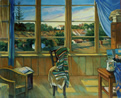 Thumbnail of Studio Interior/October: Painting of artist's studio with window and exterior landscape, by Ethel Fisher, 2000, oil on canvas, 36 x 44 inches, twenty-first century painting.