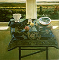 Still Life with Landscape and Chinese Rug: Still Life Painting of Chinese rug and abalone shell on a table by the window, with landscape exterior view, by Ethel Fisher, 1985, oil on canvas, 40 x 40 inches, late twentieth century still life painting.