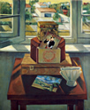 Still Life with Three Boxes: Still Life Painting with three boxes and a painting by Manet of the fifer boy on a table by window with exterior landscape view, by Ethel Fisher, 1994, oil on canvas, 24 x 20 inches, late twentieth century still life painting