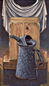 The Packing Crate and Watering Can: Still Life Painting by Ethel Fisher, 2005, oil on canvas, 28 x 16 inches, twenty first century still life painting.