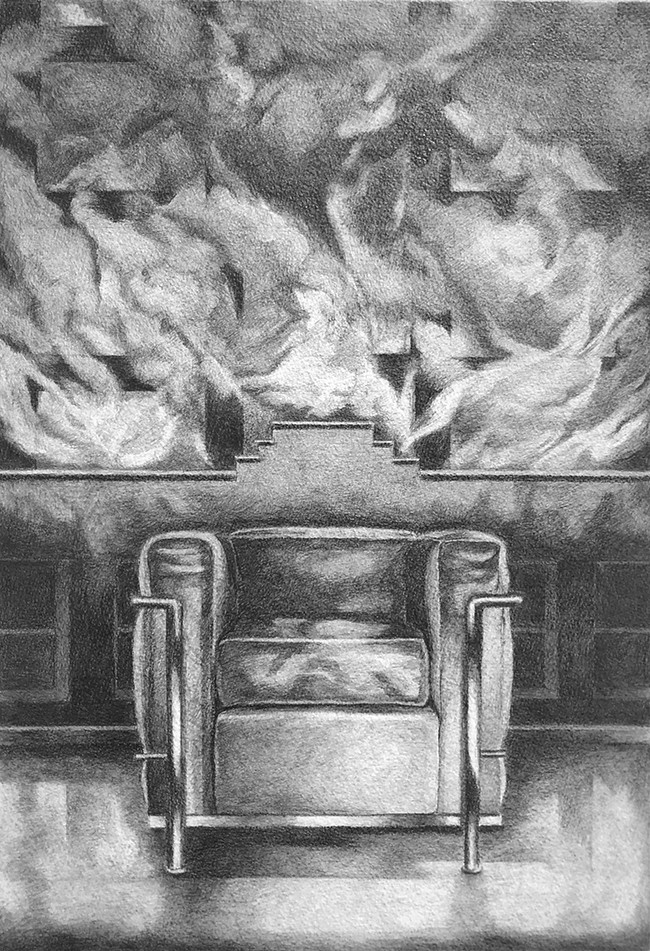 Corbusier Chair in Front of a Fire: Drawing by Ethel Fisher, 1978, graphite on Arches paper, 20 x 14 inches, twentieth-century drawing of a chair designed by Le Corbusier.