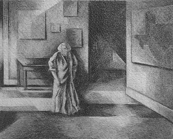 Hotel Hallway, Galveston, Texas: Drawing by Ethel Fisher, 1975, graphite on Arches paper, 20 x 14 inches.