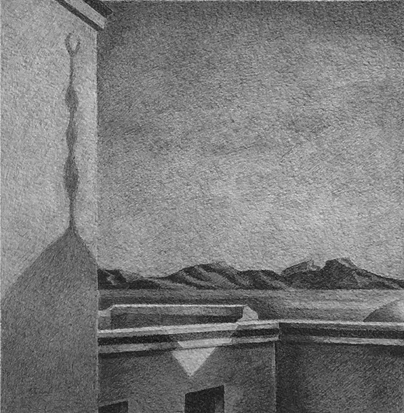 Tunisian Sunset: Drawing by Ethel Fisher, 1976, graphite on Arches paper, 20 x 14 (10 x 9.25) inches.