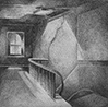 Thumbnail of Loft Interior Staircase: drawing by Ethel Fisher, 1975, of Loft Staircase, graphite on Arches paper, 20 x 14 (7.75 x 7.75) inches, mid-twentieth century drawing on a theme of architecture.