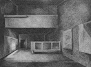 Thumbnail of Pavilion de L'espirit Nouveau: drawing by Ethel Fisher, 1975, of the Pavilion de L'espirit Nouveau in Paris, graphite on Arches paper, 20 x 14 (6.5 x 8.75) inches, mid-twentieth century drawing on a theme of architecture.