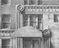 Thumbnail of the Entrance to East 68th Street, New York City): drawing by Ethel Fisher, 1975, of the Entrance to the Building at East 68th Street in Manhattan, graphite on Arches paper, 20 x 14 (6.5 x 8) inches, mid-twentieth century drawing on a theme of architecture.