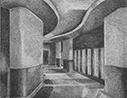 Thumbnail of Auditorium: drawing by Ethel Fisher, 1975, of the Auditorium Lobby for the New School for Social Research, graphite on Arches paper, 20 x 14 (5.75 x 7.25) inches, mid-twentieth century drawing on a theme of architecture.