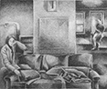 Jane Logemanns Loft: drawing by Ethel Fisher, 1975, of Loft Interior with Figure, graphite on Arches paper, 20 x 14 (7.25 x 9.25) inches, mid-twentieth century drawing on a theme of architecture.