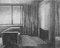 Thumbnail of Marys Room: drawing by Ethel Fisher, 1976, of Interior Space with couch and window and fireplace, graphite on Arches paper, 20 x 14 (7.25 x 9.25) inches, mid-twentieth century drawing on a theme of architecture.